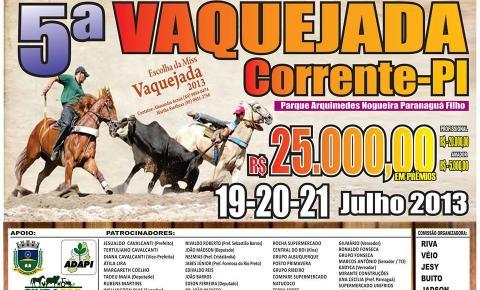 Vaquejada de Corrente terá R$25mil reais em prêmios