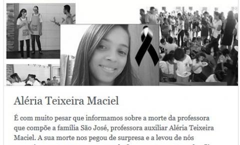 Colégio Mercedário São José suspende aula e publica nota de luto pelo falecimento de professora