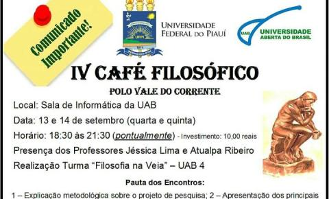 UAB/UFPI promovem nos dias 13 e 14 o IV Café Filosófico