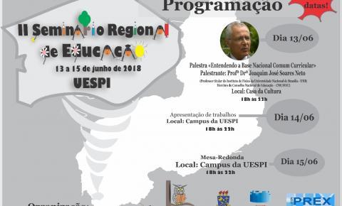 UESPI promove II Seminário Regional de Educação de 13 a 15 de junho em Corrente