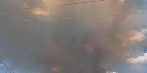 Grandioso incêndio ameaça a população de Curimatá. Segundo o chefe do PrevFogo, a brigada trabalha com apenas 5 homens.