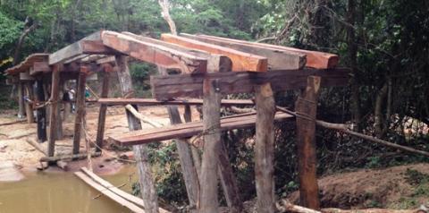Ausência do Poder Público obriga cidadãos a construírem ponte em Santa Filomena