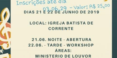 Igreja Batista de Corrente promoverá  Workshop de Música