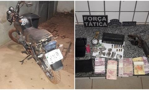 Polícia Militar prende suspeito armado e em posse de drogas no bairro Vila Nova em Corrente