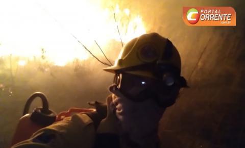 Brigadistas do PrevFogo lutam desde segunda-feira em grandioso incêndio entre Curimatá e Avelino Lopes