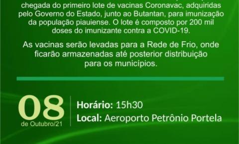 200 mil CoronaVac compradas pelo Governo do Piauí com o Butantan chegam hoje ao estado