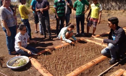 Superintendência de Meio Ambiente de Corrente planta árvores com estudantes da Escola Dr. Dionízio Rodrigues