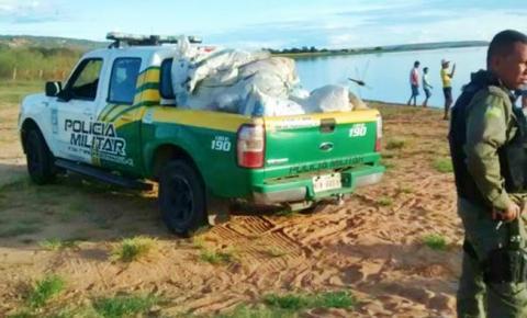 DENÚNCIA: Polícia Militar apreende 4 mil metros de rede usada para pesca ilegal na lagoa de Parnaguá
