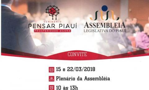 Seminário Pensar Piauí acontece na próxima quinta (15) na Assembleia Legislativa