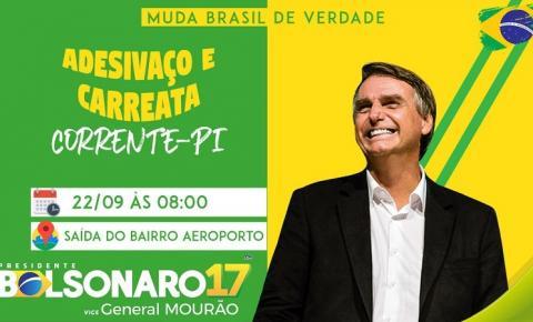 Eleitores de Bolsonaro realizarão carreata no próximo sábado em Corrente