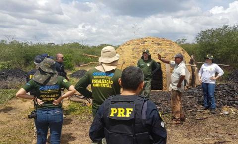 PRF e Semar destroem carvoarias no PI e realizam várias apreensões