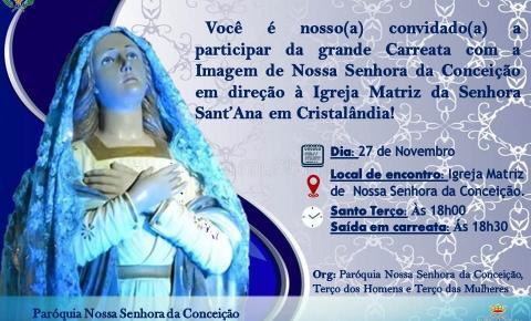 Carreata com a imagem de Nossa Senhora da Conceição irá até Cristalândia às 18h30 dessa terça (27)