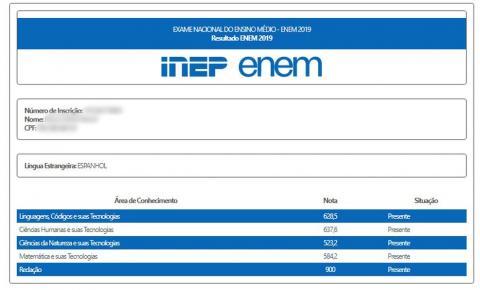 Notas do Enem são divulgadas pelo Inep