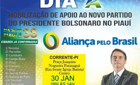 Simpatizantes de Bolsonaro em Corrente farão ato em apoio a criação do partido Aliança pelo Brasil