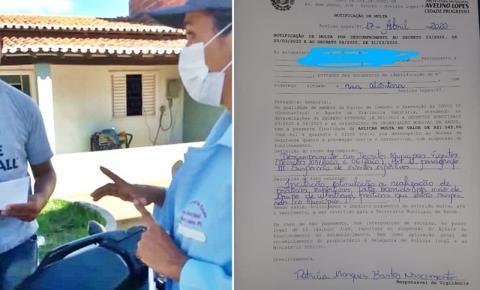 Com apoio da Polícia Militar, Vigilância Sanitária de Avelino Lopes aplica multa jovem que incitava a prática de esporte no município