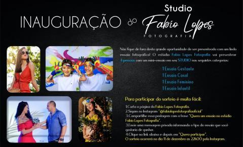 Participe do sorteio de inauguração do Studio Fotográfico Fábio Lopes