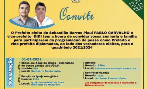 Prefeito eleito de Sebastião Barros, Pablo Carvalho, convida a população para a programação de posse