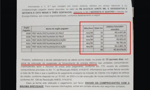 Ex-prefeito de Cristalândia, Ariano Messias, deixou 94 faturas de energia elétrica sem pagamento