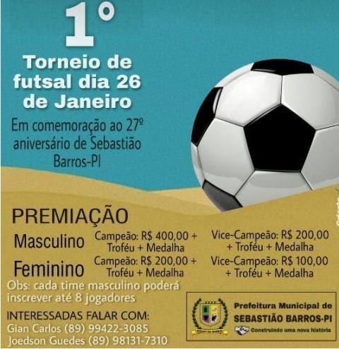 Aniversário de Sebastião Barros terá programação esportiva nesta terça-feira (26)